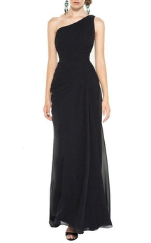 One Shoulder Chiffon Ruched Bridesmaid Dress with Drapping