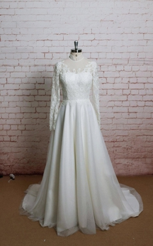 Long Sleeve High Neck A-Line Tulle Dress With Lace Bodice and Illusion Back