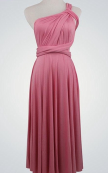 One Shoulder Pleated Jersey A-line Long Dress With Bow