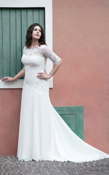 A-Line Floor-Length Scoop Neck Half Sleeve Chiffon Sweep Train Appliques Dress