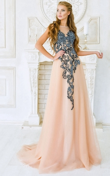 A-Line Sweep High-Neck Sleeveless Tulle Appliques Pleats Illusion Dress