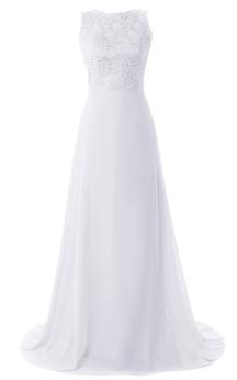 Sleeveless Lace Appliqued Bodice Long Layered Chiffon Dress
