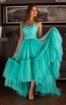 A-Line High-Low Bateau Short Sleeve Tulle Pleats Ruffles Keyhole Dress
