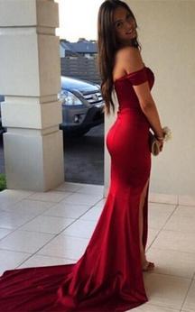 Modern Off-the-Shoulder Mermaid Prom Dresses 2016 Front Split