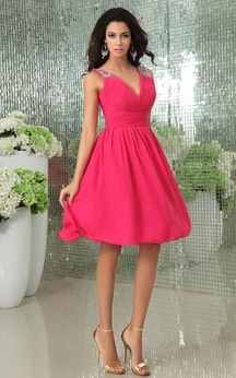 Deep V-Neck Chiffon Dress With Beaded Strap