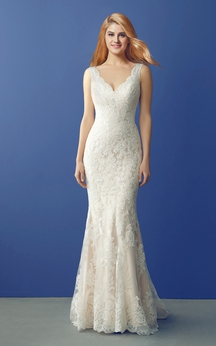 V Neck Long Lace Wedding Gown with Unique Back