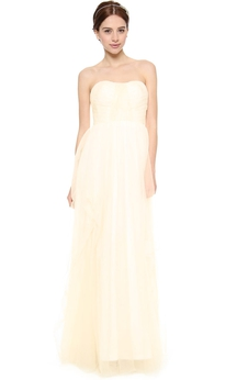 Long Strapless Empire Organza Dress With Backless Style