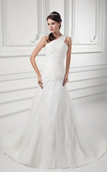 Asymmetrical A-Line Ruched Single Strap and Gown With Draping
