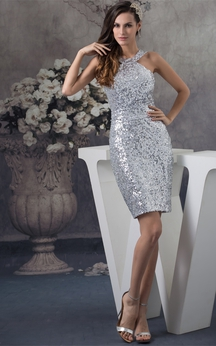 High Neck Sleeveless Sequined Short-Length Dress With Belt and Zipper Back