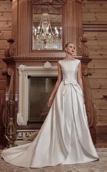 Crystal Detailing Bateau Neckline Bow Satin Backless Dress