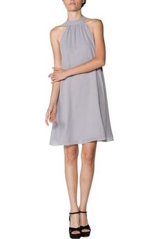 High-neck A-line Short Chiffon Dress