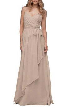Spagetti Straps Ruched Wrap Floor-length Bridesmaid Dress