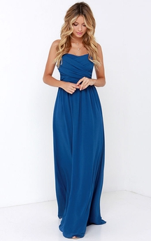 Chiffon Chic Dress With Crisscross Ruched Bodice