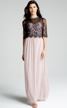 High Gown With Lace Illusion Half-Sleeved Jacket