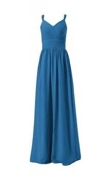 Sleeveless V-neck Ruched Sash Long Pleated Chiffon Dress