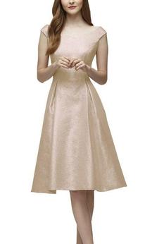 Bateau Neck Cap-sleeve A-line Bridesmaid Dress