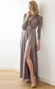 V Neck Long Sleeve A-line Jersey Long Dress Side Split