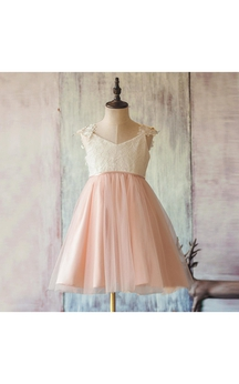 V Neck Cap Sleeve Pleated A-line Tulle Tea Length Dress With Applique