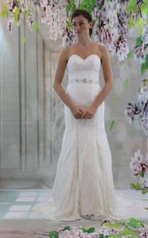 Fit and Flare Lace Sweetheart Dress With Beaded Waistbelt
