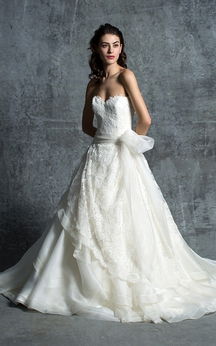 Sweetheart Lace A-line Dress With Sash And Low-V Back