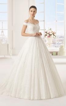 Noble Off-Shoulder Long A-Line Dress With Floral Detail