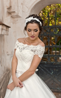A-Line Long Off-The-Shoulder Corset-Back Lace Tulle Dress With Beading And Ruching