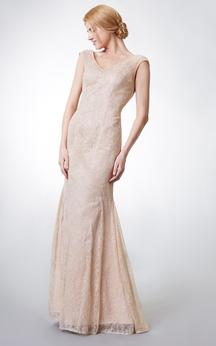 Cap-sleeved V Neck Long Lace Dress With Deep V Back