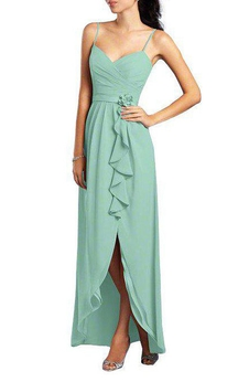 Spagetti Straps Chiffon Dress with Drapping and Front Split