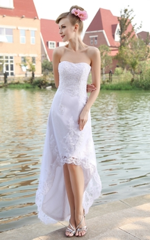 Strapless High-Low Organza Dress With Lace Appliques