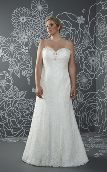 A-Line Floor-Length Sweetheart Sleeveless Lace Sweep Train Lace-Up Back Beading Dress