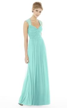Chiffon Cap-Sleeved Sassy Dress With Ruching