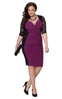 Half-sleeved Knee-length Dress With Lace and Ruching