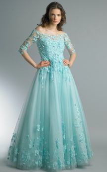 A-line Floor-length Off-the-shoulder Long Sleeve Tulle Zipper Dress