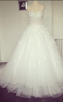 Sweetheart Tulle Ball Gown With Lace Bodice and Beadings