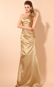 One-Shoulder Stretched Satin Dress With Flower and Ruching