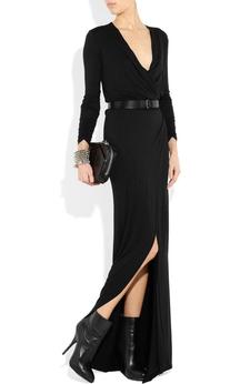 Deep V-neck Long Sleeve Sheath Long Jersey Dress With Belt and Split