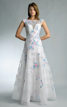 A-line Floor-length Jewel Sleeveless Lace Low-V Back Dress