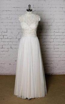 Cap Sleeve Lace and Tulle High Neck Dress With Keyhole Back