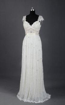 Sleeveless Cap Draping Beading Dress