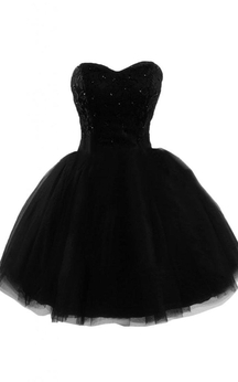 Sweetheart A-line Dress With Sequined Lace Bodice