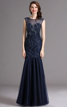 Mermaid Bateau Sleeveless Tulle Sequins Illusion Dress