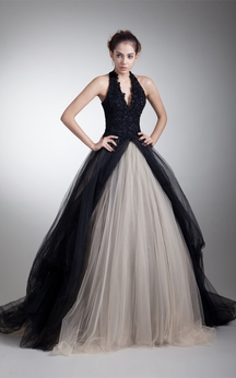 Noble Sleeveless Halter Ball Gown Satin Net Beaded Special Occasion Dresses