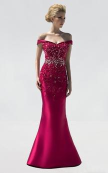 Mermaid Floor-Length Off-The-Shoulder Satin Beading Appliques Dress