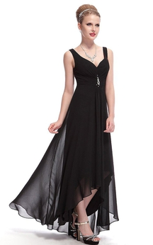 Sleeveless Asymmetrical Chiffon Dress With Illusion Style