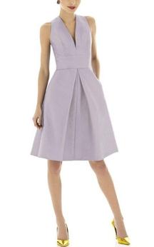 V-neck Sleeveless Satin Short Dress with Pleats