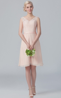 Knee-Length Cap-Sleeved Dress With Lace Bodice
