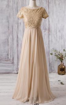Bateau Neck A-line Pleated Chiffon Long Dress With Lace Bodice