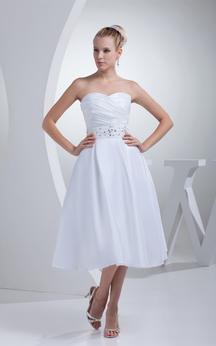 Sweetheart A-Line Tea-Length Jeweled Waist and Dress With Ruching