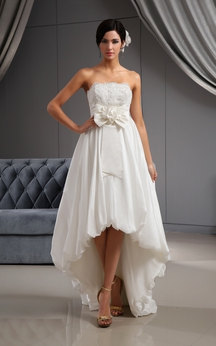 Lovely High-Low Taffeta Dress With Pleating and Bow