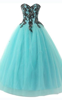Ball Gown Long Sweetheart Sleeveless Bell Beading Appliques Lace-Up Back Tulle Lace Sequins Dress